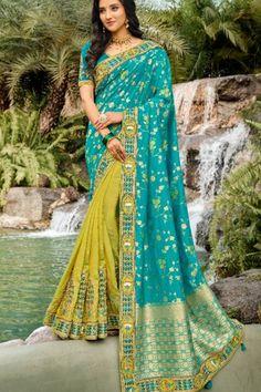 Latest Sky Blue Color Banarasi Silk Saree With Matching Blouse #banarasisaree #indiansarees #sarees #weddingsarees #dress #indiandress #womensfashion #clothes #diyandcrafts #lifestyle #sareestyle #wedding #silksareeblousedesigns #silkweddingdress Indian Designer Sarees, Designer Sarees Online, Indian Sarees, Wedding Sarees Online, Saree Wedding, Half And Half, Silk Saree Blouse Designs, Soft Silk Sarees, Looks Chic