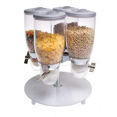 Rotating Platinum Turn and Serve Dispenser: This rotating cereal dispenser features four 3.5 liter cylinders which are designed to dispense cereal or dry food. This dispenser is a perfect tabletop piece for hotels and buffets!