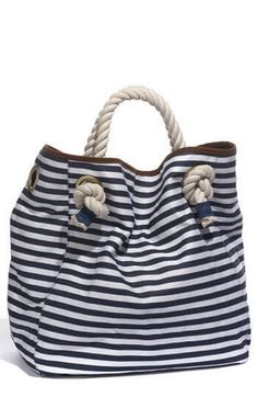 A cool canvas tote casts a line into trendy, nautical territory.A cool canvas tote casts a line into trendy, nautical territory. Color(s): blue. My Bags, Purses And Bags, Tote Bags, Style Nautique, Couture Cuir, Nautical Stripes, Nautical Canvas, Blue Stripes, Nautical Fashion