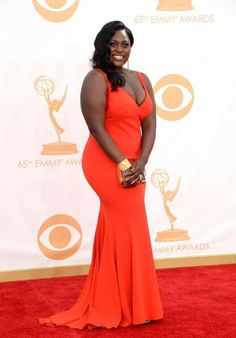 5d568025fa992 DANIELLE BROOKS from Orange is the new Black stuns in this custom stretch  satin red V-neck gown by David Meister and Lorraine Schwartz jewelry.