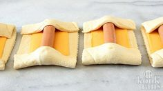 Rectangles of crescent dough, each topped with a slice cheese and a hot dog, with the ends folded over the hotdog Pillsbury Pizza Crust Recipes, Tapas, Crescent Dogs, Gourmet Recipes, Cooking Recipes, Meat Recipes, Bruchetta Recipe, Chicken And Butternut Squash, Roll Ups Recipes