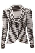 Womens Ladies Monochrome Horizontal Striped Button Up Casual Collar Blazer Jacket Stone Black White UK 8 10 12 14 Striped Jacket, Striped Blazer, Blazer Jackets For Women, Shopping World, Casual Blazer, Comfy Casual, Vertical Stripes, Wholesale Clothing, Lady