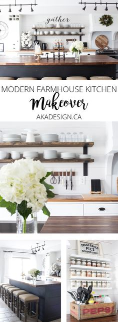 I LOVE this modern farmhouse kitchen makeover! You can totally put modern farmhouse style into a suburban home. LOVE this modern farmhouse kitchen makeover! You can totally put modern farmhouse style into a suburban home. Farmhouse Style Kitchen, Modern Farmhouse Kitchens, Modern Farmhouse Style, Farmhouse Decor, Kitchen Country, Farmhouse Sinks, Kitchen Modern, Industrial Farmhouse Kitchen, Farmhouse Cabinets