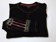 Harley Davidson 2XL XXL #1 Skull Shirt Long Sleeve Black Red #HarleyDavidson #Casual