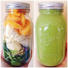 """Peachy Green Smoothie Before&After. Prepped all the ingredients in the mason jar the night before, then in the morning threw it all in the blender with some added water. I filled the whole jar with mixed baby greens (kale, chard, etc.) then squished them down with half an avocado, 2 bananas, and about 1 cup of frozen peaches."""