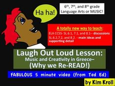 Want to teach Re-reading, discussions, main idea, supporting details, music, creativity, and Greece all with one clever lesson? Make sure you have access to the following TedEd video: http://www.youtube.com/watch?v=-1aAunaw1GA This product includes the lesson plan and worksheet for this TERRIFIC video.