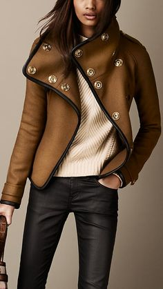 Leather Trim Blanket Wrap Jacket by burberry #Jacket