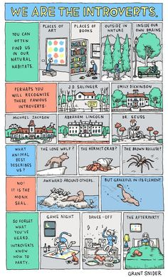 A great illustration for introverts. Susan Cain's book, Quiet, is a must read on the subject of introverts. It's not just being shy!