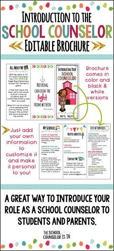 School counselor introduction brochure.  Great way to introduce who you are to the school community.