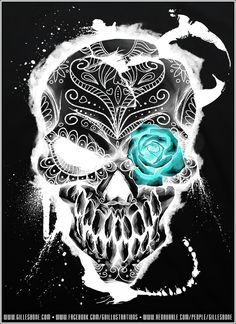 Skull with sapphire rose eye Diy Poster, Desenhos Halloween, Totenkopf Tattoos, Skull Pictures, Candy Skulls, Sugar Skulls, Day Of The Dead Skull, Day Of The Dead Artwork, Sugar Skull Tattoos