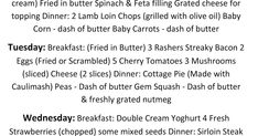 5 Day Banting Meal Plan - by Chantal McCarthy Green List Banting, Banting List, Flat Tummy Foods, 5 Day Meal Plan, Lamb Loin Chops, Battered Fish, Spinach And Feta, Grated Cheese, Baby Carrots