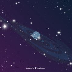 Universe background with planet Free Vector