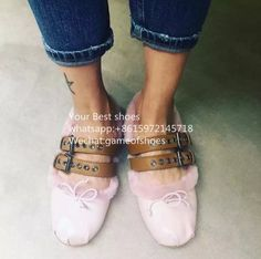 97.16$  Watch now - http://alizhu.worldwells.pw/go.php?t=32725797826 - 2016 fall Shearling Fur buckle straps flats comfortable ladies furry ballerinas round toe pink black leather buckled shoes  97.16$