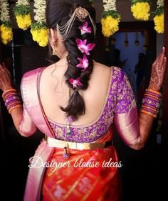 This Gorgeous Bride Glowing In Blouse❤️ . Hire Your Favourite Make-up Artist From Us Tag us… Bridal Hairstyle Indian Wedding, Bridal Hairdo, Indian Bridal Hairstyles, Saree Hairstyles, Low Bun Hairstyles, Bride Hairstyles, Hairstyle Ideas, Traditional Hairstyle, Front Hair Styles