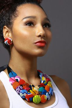 Multicolored Button Ankara Statement Neck piece by AnkaraStatement African Inspired Fashion, African Print Fashion, Africa Fashion, African Prints, Ankara Fashion, Button Necklace, Fabric Necklace, African Necklace, African Jewelry