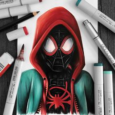 Miles Morales drawing done with Copic Markers Arte Copic, Copic Art, Copic Sketch, Cool Art Drawings, Colorful Drawings, Art Sketches, Copic Marker Drawings, Copic Markers, Spiderman Drawing