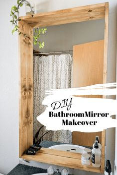 Bring some added character to your bathroom with a DIY bathroom mirror makeover. This easy tutorial guides you in adding a rustic DIY wooden bathroom mirror frame. bathroom Bathroom Renovation - DIY Bathroom Mirror Makeover - My Happy Simple Living Rustic Bathroom Makeover, Diy Bathroom Decor, Boho Bathroom, Decorating A Bathroom, Decorating Mirrors, Master Bathroom, Restroom Decoration, Industrial Bathroom, Bathroom Curtains