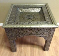 Moroccan Accent Table In Carved Embossed Silvered Metal Wood Glass Top  Furniture