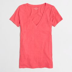 Factory layering V-neck tee : Knits & Tees   J.Crew Factory  White, California poppy, iced Quartz burnished coral, sea spray would be colors I could use,