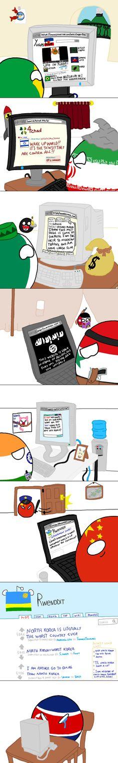 Internet Behaviour 1 ( Brazil, Iran, Nigeria, Syria, India, China, North Korea ) by John V98  #polandball #countryball