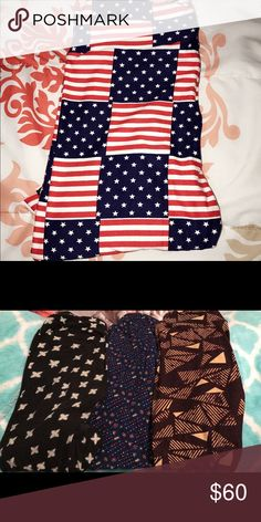 Lularoe leggings American flag leggings are NWOT. And the other 3 were wore a few times. GREAT condition. $15 a piece or make an offer for all LuLaRoe Pants Leggings