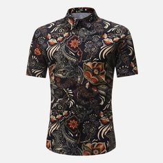 Patterned Button Up Shirts, Printed Shirts, Floral Shirts, Beach Shirts, Summer Shirts, Chemise Fashion, Types Of Shirts, Casual Shirts, Shirt Style