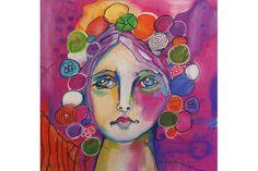 Bubble Head Giclée Print #bubbleheadpainting #art #pastelpainting #oilpastel #colorful