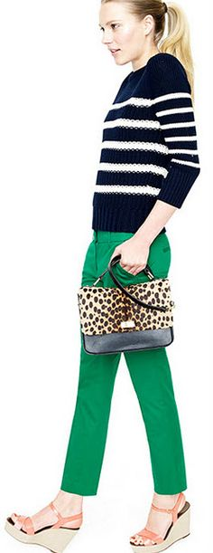 love this combination - color, stripes, and animal print