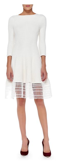 Lela Rose 3/4-Sleeve Dress W/ Railroad Lace Hem, White - was $995.0, now $348.0 (65% Off). Picked by cossi @ Neiman Marcus