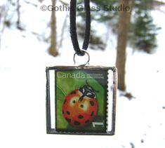 Excited to share the latest addition to my #etsy shop #Ladybugs #Lady #Bug #Necklace #PostageStamp #CottageChic #Pendant #PolkaDots #Handmade #Jewelry #jewelrylovers