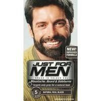 Just For Men Brush In Facial Hair Colour - Real Black, Free standard UK delivery on all orders, Targets only the grey hair, Beard Colour, Mens Hair Colour, Hair Color, Just For Men Shampoo, Just For Men Beard, Black Men Beards, Coarse Hair, Beard No Mustache, Facial Hair