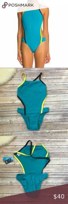 NWT Speedo One Piece Swimsuit Bathing Suit X Racer Back Wome Size 18 6 Blue Pink