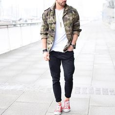#camouflage jacket and red sneakers by @rowanrow  [ http://ift.tt/1f8LY65 ] #royalfashionist by royalfashionist