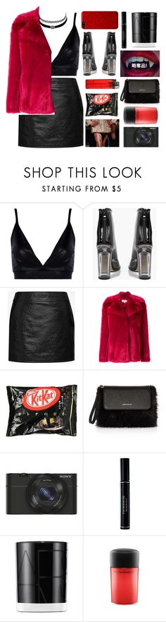 """""""Untitled #3029"""" by tacoxcat ❤ liked on Polyvore featuring Boohoo, Charlotte Russe, Yves Saint Laurent, MICHAEL Michael Kors, Karen Millen, Sony, Christian Dior, NARS Cosmetics and MAC Cosmetics"""