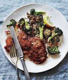 Pork Cutlets With Roasted Broccoli and Crispy Bread Crumbs recipe from realsimple.com #myplate #protein #vegetables