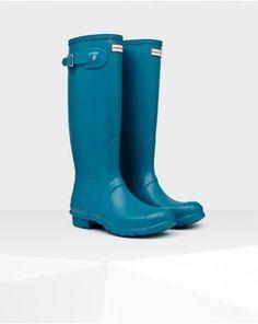 11666c5c24c5 Hunter Women s Original Tall Wellington Boot Blue  HunterBoots  RainBoots  Hunter Boots Sale