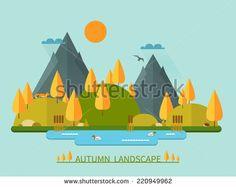 Flat autumn nature landscape illustration. Colorful vector flat icon set: nature, mountains, lake, ducks, sun, trees, fox, eagle, cane, hedgehog, clouds. Vector illustration in trendy flat style. - stock vector