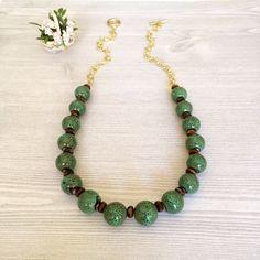 Green Ceramic Bead Necklace Beaded Green by BarbsBeadedJewelry