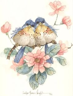 This x lithograph is one of many bird pairs painted by Carolyn Shores Wright over the years. This print is one of a pair. Image size is x Bird Drawings, Cute Drawings, Watercolor Bird, Watercolor Paintings, Image Deco, Bird Pictures, Cute Birds, Vintage Birds, Bird Prints