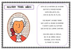 Plastificando ilusiones: Conociendo a Mozart Más Music Activities, Language Activities, Compositor Musical, Amadeus Mozart, Study Spanish, History For Kids, Music And Movement, Music School, Blended Learning