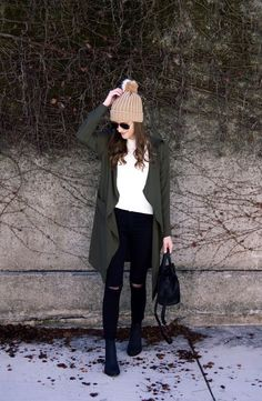 c5e11e03 Black and White Outfit with Olive Trench. Winter Style. Pompom beanie  outfit. Rain