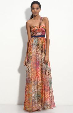 BCBG Metallic Chiffon Gown on Nordstrom. Beautiful colors
