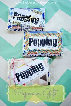 Such a cute idea! great for gifts or thank yous!! FREE Popcorn Printable Gift Tag at www.thebensonstreet.com