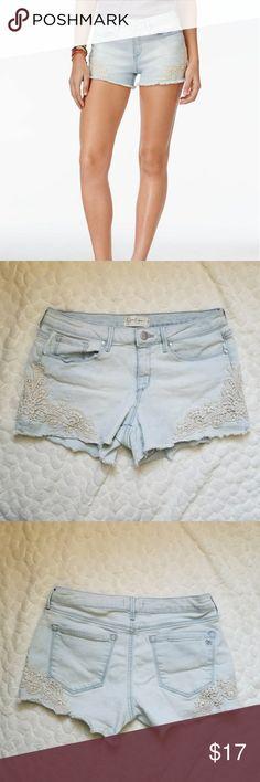 Jessica Simpson lace denim shorts distressed 27 *Jessica Simpson shorts with lace detail and frayed, distressed hem. Size is 27.* Jessica Simpson Shorts Jean Shorts
