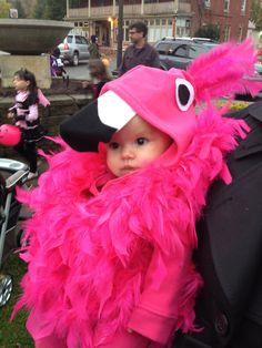 Toddler Flamingo Halloween costume, costume for baby made with feather boas sewed to a sweatshirt