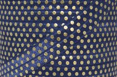 Fold Over Elastic - Craft Supplies by Couture Craft Supply - Navy/Gold Metallic Polka Dot Print Fold Over Elastic - 5/8 inch FOE