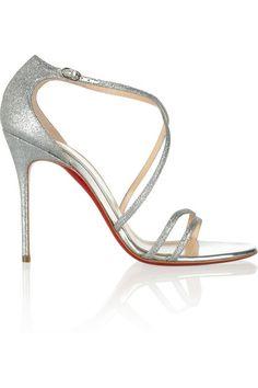 CHRISTIAN LOUBOUTIN Gwynitta 100 glitter-finished leather sandals $745