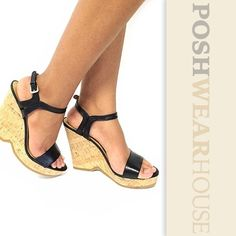 """Black & Tan TRICKSTER Strappy Cork Wedges Side buckle • Padded insole • Fits a narrow foot • Heel height 5"""" • Platform 1"""" • Insole width 3"""" • Leather   Like what you see? Follow me!  On PM @PoshWearHouse  On IG www.instagram.com/PoshWearHouse  On FB www.facebook.com/PoshWearhouse Nine West Shoes Platforms"""