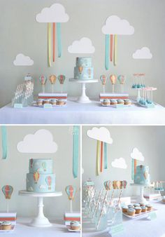 Whimsical Hot Air Balloon Party Theme: http://www.rosesandlace.co.uk/hot-air-balloon-party-theme/