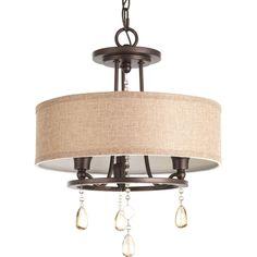 Progress Lighting Flourish 15.125-in W Cognac Fabric Semi-Flush Mount Light